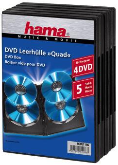 hama Boîtier vide pour DVD 'Quad Box', Jewel Case, noir