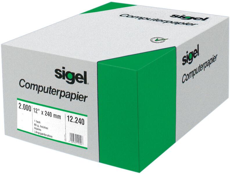Papier quadrillé 8x330mm avec lignes de lecture et perforation VE=2000 feuilles Sigel 08336