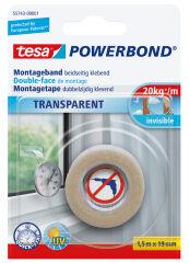 tesa Adhésif double face de montage Powerbond, transparent