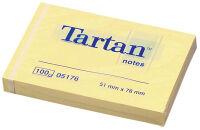 Tartan bloc-notes repositionnable, 76 x 76 mm, jaune