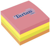 Tartan bloc-notes repositionnable en forme cube, 76 x 76 mm,