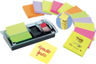 Post-it Distributeur Z-Notes, noir/transparent, pack