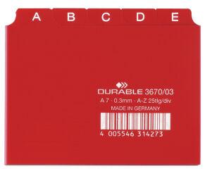 DURABLE Index alphabétique A - Z, PP,format A7 à l'italienne