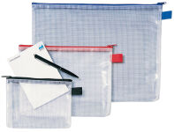 Rexel Sac à fermeture éclair Mesh Bags, A6, PVC, noir