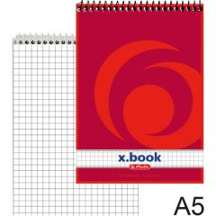 herlitz Bloc-note à spirale x.book, A5, 100 pages, quadrillé