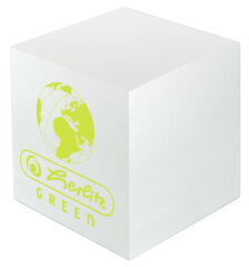 Bloc-notes cubeGreen, 90 x 90 mm, blanc