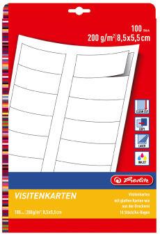 herlitz Cartes de visite, carton prestigieux, 85 x 55 mm