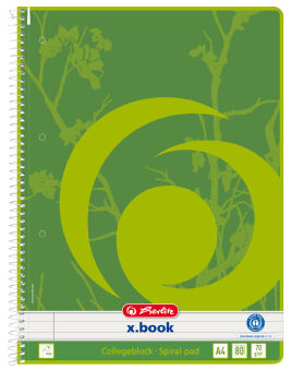 herlitz Cahier à spirales recyclé x.book, A4, 160 pages