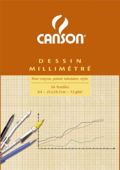 CANSON Bloc de papier millimétré, A4, 90 g/m2