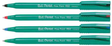 Pentel roller encre Ball Pentel R50, Recycology, bleu