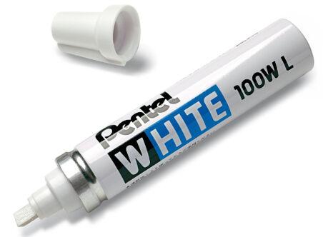 Pentel Marqueur permanent X100W, pointe biseautée, blanc