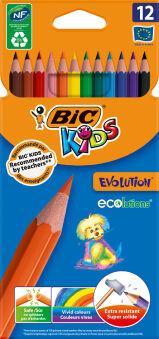 BIC KIDS Crayons de couleur Evolution ecolutions, étui de 12