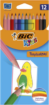 BIC KIDS Crayons de couleur Tropicolors 2, étui carton de 12