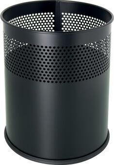 helit Corbeille à papier en acier 'the dot', 15 L, noir