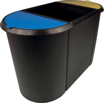 helit Corbeille à papier 'the triple', oval, PE, noir/rouge/