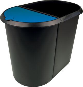 helit Corbeille à papier 'the double', oval, PE, noir/rouge
