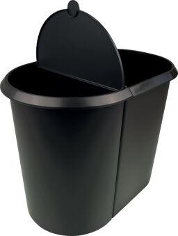 helit Corbeille à papier 'the double', oval, PE, noir/bleu