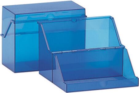 helit Petite boîte à fiches, translucide, bleu