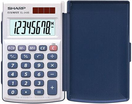 SHARP Calculatrice EL-243 S, fonctionnement solaire/batterie