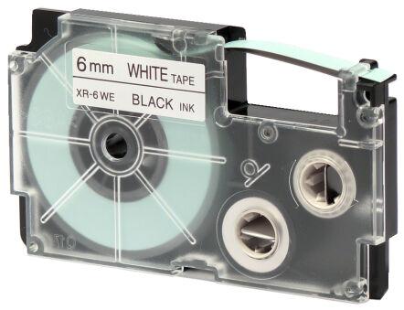 CASIO Cassette à ruban XR, 6 mm / 8 m, noir sur blanc