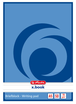 herlitz Bloc de papier à lettre x.book, A5, non perforé, uni