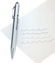 WEDO Stylo bille 4 couleurs avec mécanisme poussoir, chromé