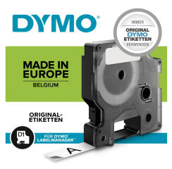 DYMO Cassette de ruban à étiqueter D1 noir/blanc,12mm x 5,5m