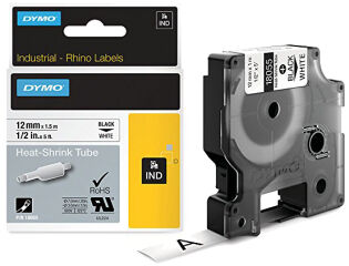 DYMO RHINO Gaine thermorétractable noir/blanc, 19 mm x 1,5 m