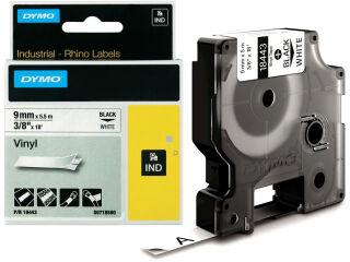 DYMO RHINO Etiquette en vinyle noir/blanc, 12 mm x 5,5 m