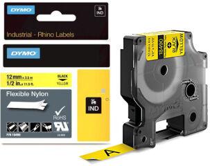 DYMO RHINO Etiquette en nylon noir/jaune, 19 mm x 3,5 m