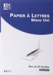 Oxford Bloc de correspondance, A5, blanc, ligné,