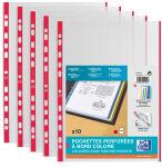 ELBA Pochettes perforées, format A4, avec bande colorée,