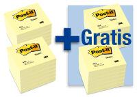 Post-it Bloc-note adhésif, 76 x 76 mm, jaune, 12 + 12 GR