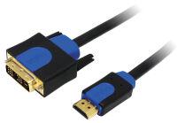 LogiLink Câble HDMI High Speed, HDMI - DVI-D, 2 m