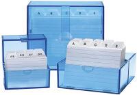 WEDO Boîte à fiches A7 à l'italienne, bleu transparent