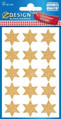 AVERY Zweckform Stickers de Noël ZDesign 'étoiles', or