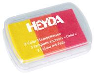 HEYDA Tampons encreurs '3-Color', jaune / orange / rouge