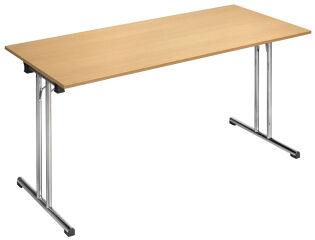 SODEMATUB Table pliante Chromeline1, demi-rond, hêtre,