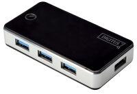 DIGITUS  Hub USB 3.0, 4 ports, noir, bloc d'alimentation