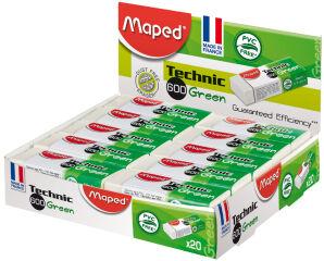 Maped Gomme plastique Technic 600 Green, présentoir de 20