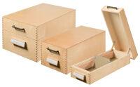 HAN Boîte à fiches en bois A7 paysage, 500 à 900 fiches