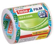 tesa Film Ruban adhésif Eco & Clear pack éco, 19 mm x 33 m