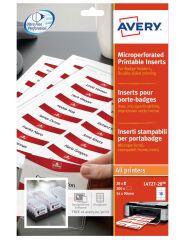 AVERY Inserts imprimables pour badges, 55 x 86 mm, blanc