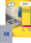 AVERY Étiquettes ultra-résistantes, 63,5 x 29,6 mm, argent