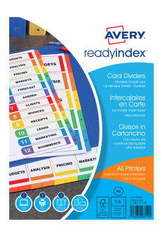 AVERY Intercalaires Readyindex, 12 touches numériques, A4