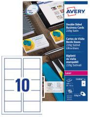 AVERY Cartes de visite Quick&Clean, 270 g/m2, satin blanc