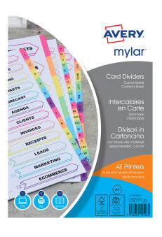 AVERY Intercalaires Mylar, carte, 12 touches mensuelles, A4
