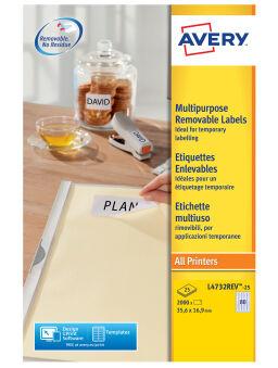 AVERY Etiquette multi-usages, enlevable, 25,4 x 10 mm