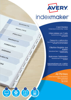 AVERY Intercalaires IndexMaker Carte, 6 touches, A4, blanc