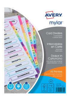 AVERY Intercalaires Mylar, carte, 6 touches neutres, A4